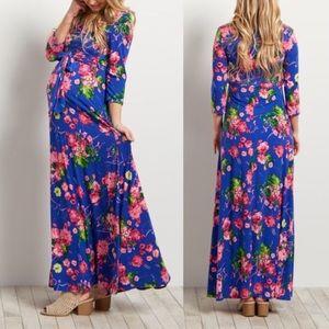 Pinkblush royal blue floral wrap maternity maxi